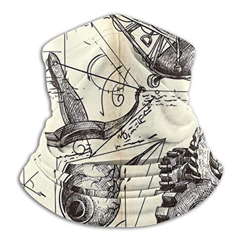 Antieke Engineering Tekeningen In Leonardo Da Vinci Stijl Comfortabele Fleece Hals Warmer Balaclava Hood