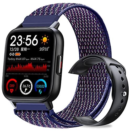 SMART SWAP BLACK スマートウォッチ 腕時計 バッテーリー 長持ち 多機能 防水 防塵 Bluetooth 1.69インチ 大画面 スクリーン 万歩計 長座防止 カラーベルト (indigo)