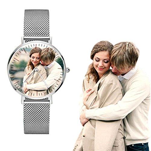 Reloj Personalizado con Foto Personalizada Reloj de Pulsera de Mujer de Acero Inoxidable para Hombre Regalo de los Amantes de Las Mujeres