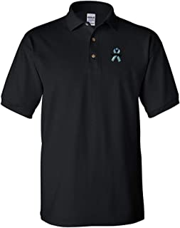 Custom Polo Shirts for Men Male Cancer Ribbon Moustache Embroidery Cotton
