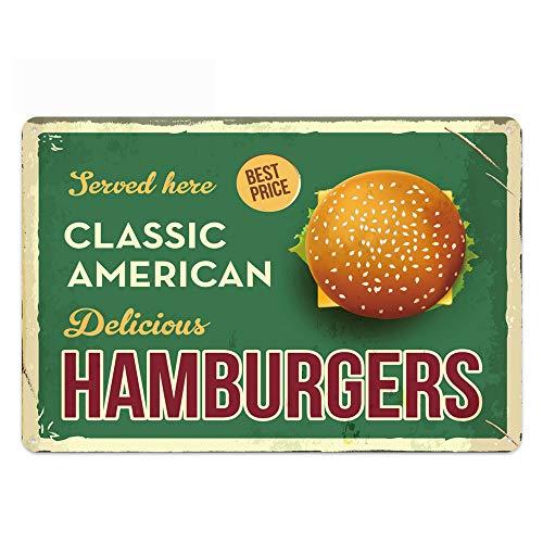 Original Design Classic American Delicious Hamburger Tin Metal Wall Art Sign,Thick Tinplate Print Poster Wall Decoration