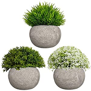 Mini Artificial Plants 3 Pack Fake Plants Potted Faux Green Grass Flower Topiary Plants with Pots for House, Farmhouse, Bathroom, Office, Home Decor