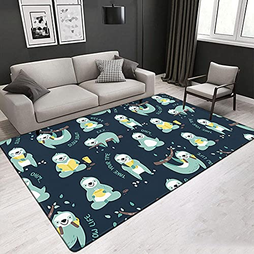 Kurzflor Wohnzimmer Teppich Home Moderner Teppich Faultier, Blau Teppich Hochflor Weich Flauschig Für Wohnzimmer Schlafzimmer 120X170 cm