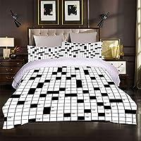 ティーンエイジャーの寝具セット羽毛布団カバーファッション3D羽毛布団カバー 200x200cm 黒と白の幾何学的な印刷 キッズチルドレン用3ピース軽量マイクロファイバー羽毛布団カバーセット