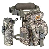 Drop Leg Bag for Men Tactical Metal Detecting Thigh Pack with Water Bottle Pouch