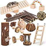 HWONMTE Hamster Toys 12 Pack Guinea Pig Toys Set Natural Wooden Hamster Roller Rabbit Bird Rat Bunny Chinchillas Gerbils Chew Toys for Teeth Care