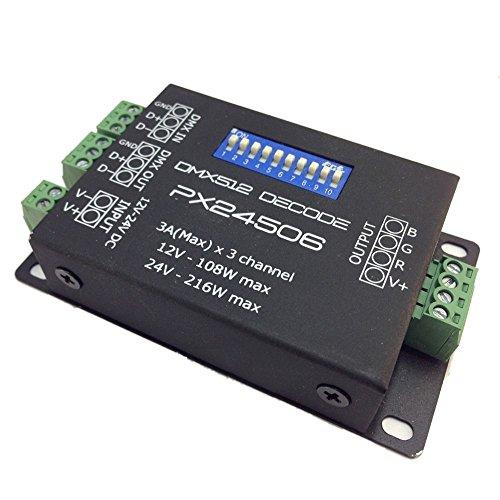 Generic DMX LED Controller PX24506 DMX 512 Decoder Treiber 9A DMX 512 Verstärker 12V 108W 24V RGB LED Lichter