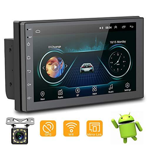 YYKJ 2 Din Android Autoradio 7 Zoll HD 1024 * 600 Touchscreen Autoradio Multimedia-System mit Rückfahrkamera, Bluetooth/GPS-Navigation/WiFi/Spiegel Link/USB