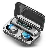 Auriculares Bluetooth 5.0 Inalámbricos,Hi-Fi Sonido Estéreo In-Ear Auricular con Estuche de Carga Portátil y Micrófono,Pantalla LED, Control Tactil,Auriculares Deportivos paraAndroid/iPhone