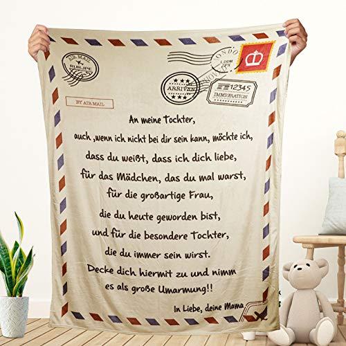 JOLIGAEA Flanelldecke An Meine Tochter, Super Weiche Teppich, Personalisierte deutsche Briefdecke, Ermutigung und Liebe von Mama und Papa zu ihrer Tochter, Geburtstagsgeschenk für Tochter (Deutsche)