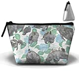 Rabbits Rode On The Manatees Beauty Women in Trapezoid Portable Makeup Bag Clutch Storage Cosmetic Organizer