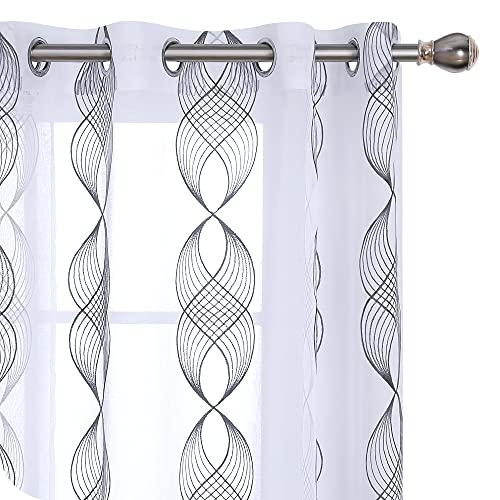 Amazon Brand - Umi Cortinas Salon Translucidas de Dibujos Cinta Espiral con Ollaos 2 Piezas 140x245cm Gris