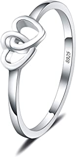 LGSY 925 Sterling Silver Double Heart Rings Infinity Love Thin Rings Wedding Engagement Promise Engraved Love Rings for Women for Dainty Gift