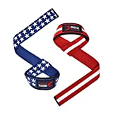 """DMoose Lifting Wrist Straps (Pair) Weightlifting, Bodybuilding, Powerlifting Soft Neoprene Padded - 24"""", Support Max Grip Strength Training, Deadlifts, Barbell Stability (Old Glory)"""
