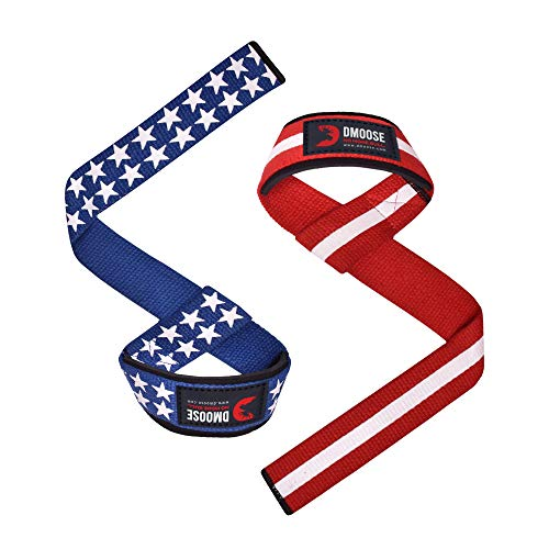 "DMoose Lifting Wrist Straps (Pair) Weightlifting, Crossfit, Bodybuilding, Powerlifting Soft Neoprene Padded - 24"", Support Max Grip Strength Training, Deadlifts, Barbell Stability (Old Glory)"