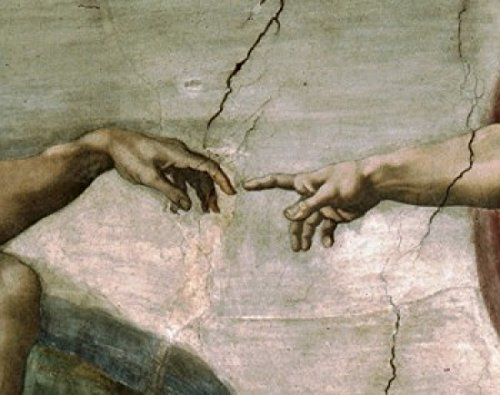 Creation of Adam (Detail) 1512 Michelangelo Buonarroti (1475-1564Italian) Fresco Sistine Chapel Vatican Poster Print (24 x 36)