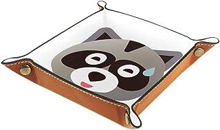BestIdeas Panier de rangement carré 20,5 × 20,5 cm, avec mignon visage de raton laveur sérieux, boîte de rangement sur tab...