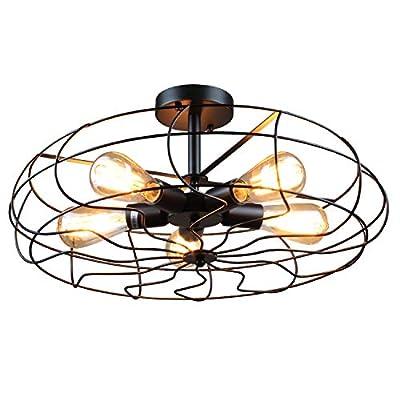 Retro Industrial Fan Style Metal Cage Ceiling Light, 5 Lights Semi Flush Mount Rustic Pendant Light Lamp Hanging Light Fixture E26 Bulb Base (Black Color) by ZPKelin