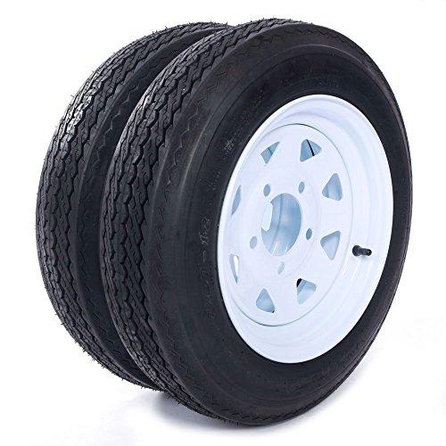 """MILLION PARTS Two 12"""" Trailer Tires Rims 4.8-12-4PR-5LUG P811 Wheel White Spoke"""