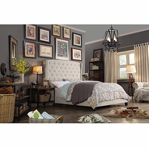 Rosevera Button-Tufted headboard Upholstered Wingback Nailhead tirm Panel Bed, Queen, Beige