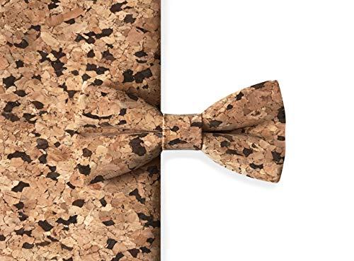 Hergestellt in Deutschland | MAY-TIE Herren Fliege | 100% Kork | Style: Braun Rustikal | Korkfliege gebunden und stufenlos verstellbar mit Hakenverschluss