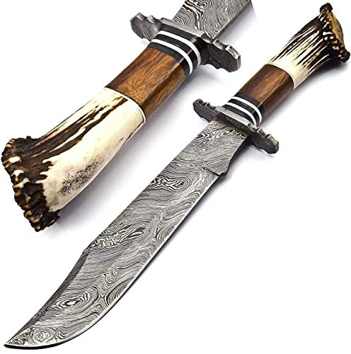 16 Inch Handmade Damascus Steel Fixed Blade Hunting Knife, Twist Pattern Design Bowie Knife with Handcrafted Stag Antler Wood & Brass Guard Handle Suede Leather Sheath.