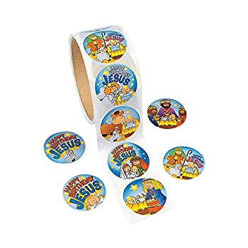 Fun Express - Happy Birthday Jesus Roll Stickers for Christmas - Stationery - Stickers - Stickers - Roll - Christmas - 1 Piece