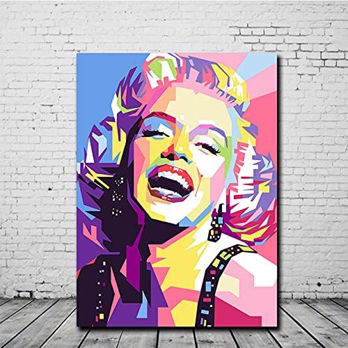 SLJZD Cuadro sobre Lienzo 60x90cm Sin Marco Póster De Retrato De Marilyn Monroe, Diseño Vintage Para El Hogar, Pintura En Lienzo, Decoración Nórdica