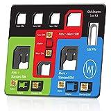 Wicked Chili 8in1 Multi Sim-Card Tool para Todas Las SIM, con 3 adaptadores SIM, Compartimento para 3 Tarjetas Nano y 1 Micro SIM, Aguja SIM, Kit de Viaje del tamaño de una Tarjeta de crédito