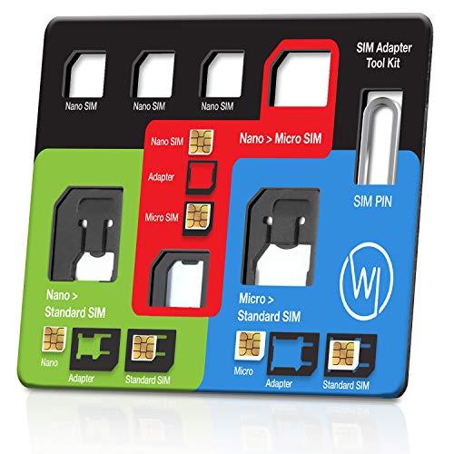 Wicked Chili 8in1 Multi SIM-Card Tool für alle SIM-Karte, mit 3 SIM-Adaptern, Aufbewahrungsfach für 3 Nano und 1 Micro SIM-Karte und SIM-Nadel, Travel Kit im Kreditkartenformat