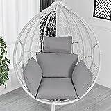 Cojín de balancín individual para silla colgante, cesta colgante, cojín para sofá, estructura de silla colgante, cesta colgante, sillón o cojín (gris)