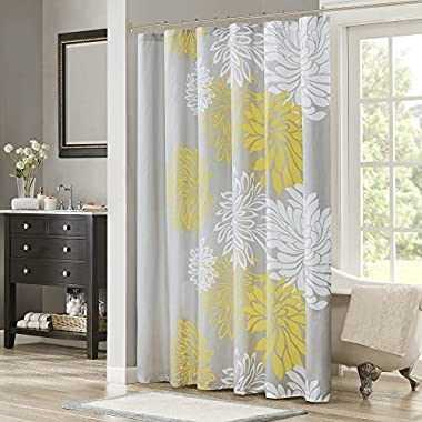 Comfort Spaces – Enya Shower Curtain – Yellow, Grey – Floral Printed- 72x72 inches
