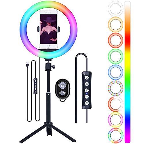 AXDNH Lámpara de Anillo de 10'RGB LED Lámpara de Llamada Selfie Llenaje con trípode para transmisión en Vivo, Video, Maquillaje