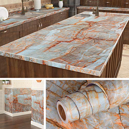 Livelynine 197 X 24 Inch Wide Blue Marble Countertop Contact Paper Decorative Wallpaper Peel and Stick Countertops for Kitchen Island Counters Vinyl Marble Table Top Covers Night Stand Desk Covering