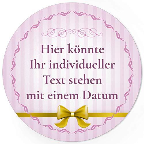 24 PERSONALISIERTE runde Etiketten mit Motiv: Rosa gestreift mit Schleife gold - Ihre Aufkleber online selbst gestaltet, ganz individuell