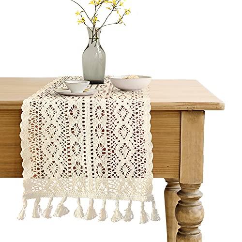Camino de mesa de encaje de algodón, 24x180cm Camino de mesa de...