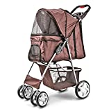 Flexzion Pet Stroller (Brown) Dog Cat Small Animals Carrier Cage 4 Wheels Folding Flexible Easy to Carry for Jogger Jogging Walking Travel Up to 30 Pounds with Sun Shade Cup Holder Mesh Window