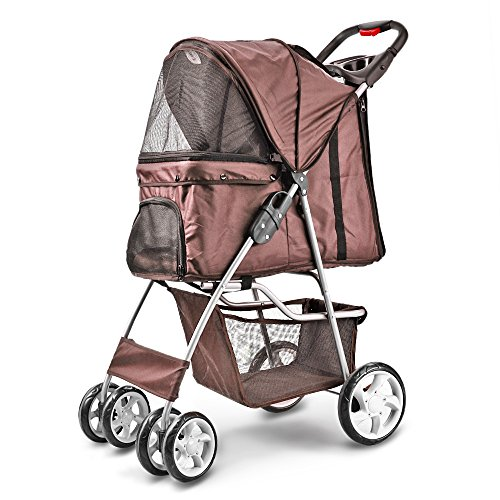 Flexzion Pet Stroller (Brown) Dog Cat Small...