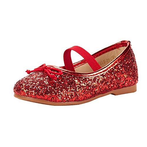 DREAM PAIRS BELLE-01 Mary Jane Bailarina Zapatos Ballet Planos Vestir para Niña Rojo 21 EU/5 US Toddler