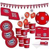 FC Bayern München Set de fiesta de fútbol XXL de 58 piezas, artículo para aficionados, accesorios para fiestas, decoración para fiestas de fútbol y cumpleaños