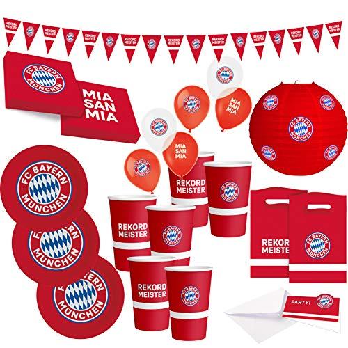 FC Bayern München Party Set · XXL Fußball Party Set 58 teilig Fanartikel · Party Zubehör · Deko zur Fußballparty und Geburtstag