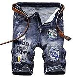 Woovitpl Pantalones Vaqueros Cortos del Estiramiento de los Hombres Moda Casual Pantalones Cortos de Mezclilla Pantalones Vaqueros Masculinos Corriendo Pantalones Azul 38