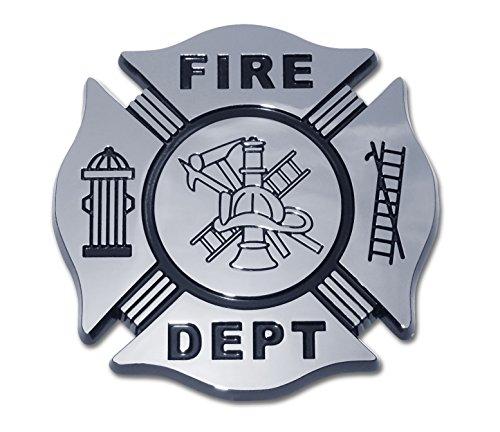 Elektroplate Fireman Fire Department Firefighter Maltese Cross Premium Black & Chrome Car Truck Motorcycle Emblem