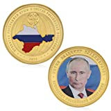zijianZZJ Gedenkmünze, Seltener Russland-Präsident Wladimir Putin Crimean Map Vergoldete Gedenkmünze -