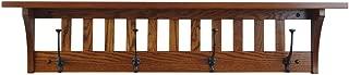 Wood Coat Rack Shelf Wall Mounted, Mission, 4 Hook, Oak Wood, Michaels Stain