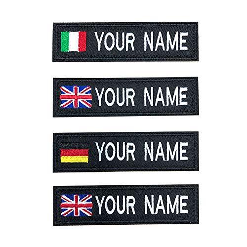 Brillianne Toppe con Nome Bandiera Ricamate Personalizzate, Toppa Personalizzata con Nome da Motociclista Militare per Giubbotti Uniformi o Giubbotti, targhette con Nome - Patch Klett / 10x2,5cm