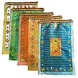 Feng Shui Tibetanisch buddhistische Gebetsfahnen 10 Schrift Satin Religiöse Windpferd Flagge, Textil, Mehrfarbig, Buddha Design