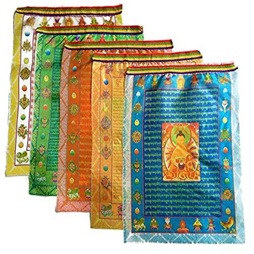 Feng Shui Tibetische buddhistische Gebetsfahnen, 10 Schriftzüge, Satin, religiöse Windpferd-Flagge, Textil, mehrfarbig, Buddha Design-13.78×11.02 in