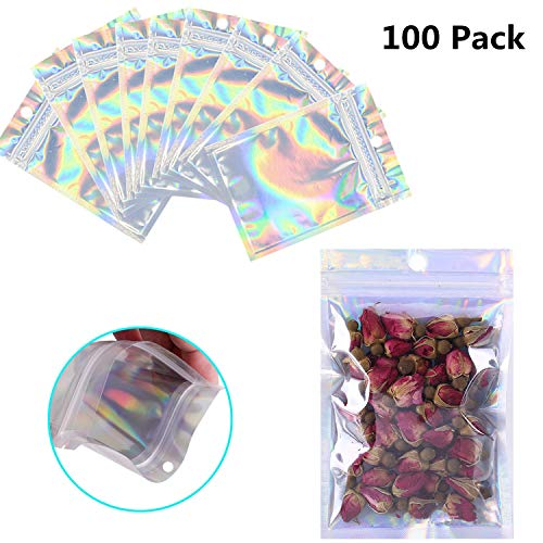 Great Features Of 100 Pack Resealable Mylar Bags Smell Proof Pouch Aluminum Foil Packaging Plastic Z...