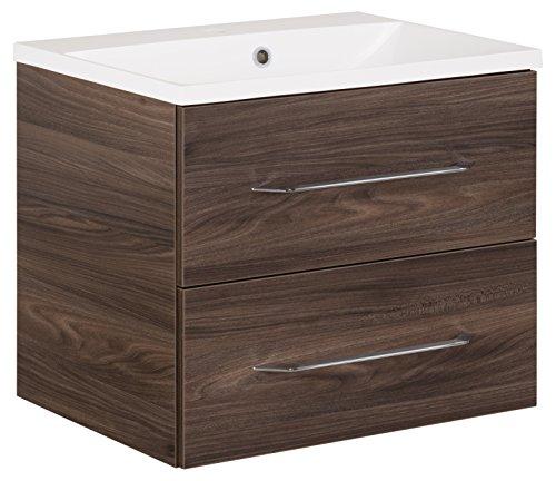 FACKELMANN Waschtischunterschrank inkl. Gussbecken B.CLEVER/Soft-Close-System/Maße (B x H x T): ca. 60 x 48,5 x 46 cm/Möbel fürs WC oder Badezimmer/Schrank: Braun dunkel/Becken: Weiß